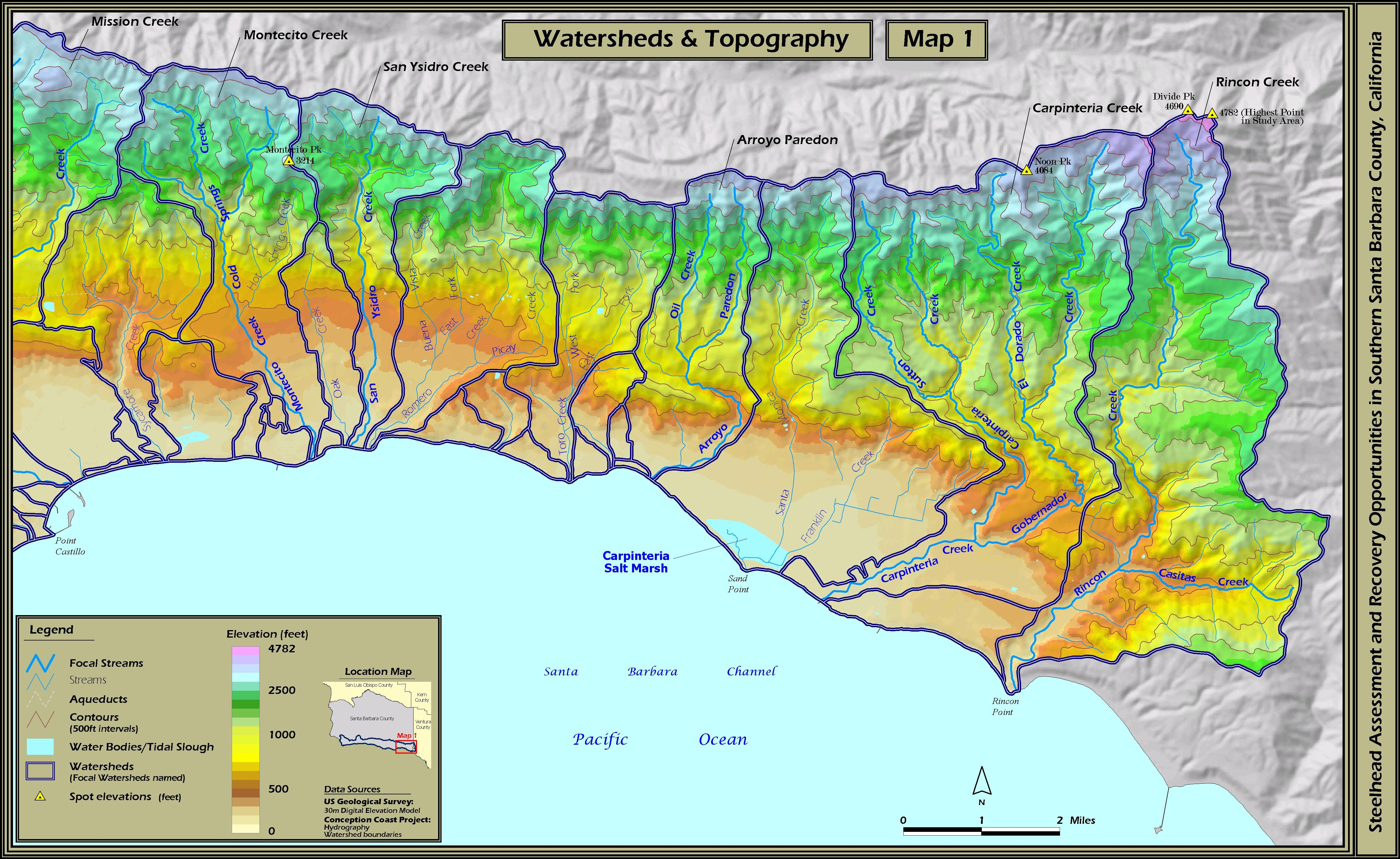 San Jose Elevation Map.Stoecker Ecological Southern Santa Barbara County Steelhead